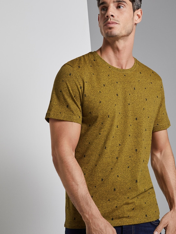 T-Shirt mit Allover-Print - Männer - yellow mini cube design - 5 - TOM TAILOR