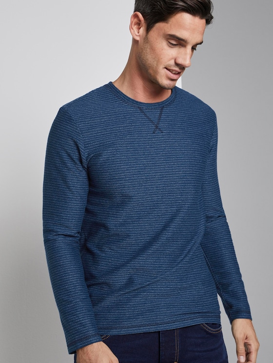 gestreiftes Langarmshirt - Männer - blue structured stripe - 5 - TOM TAILOR