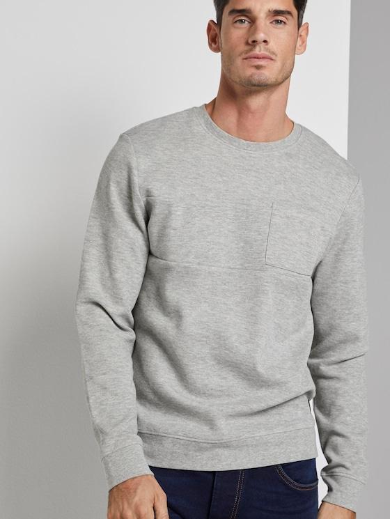 Sweater mit Brusttasche - Männer - Middle Grey Melange - 5 - TOM TAILOR