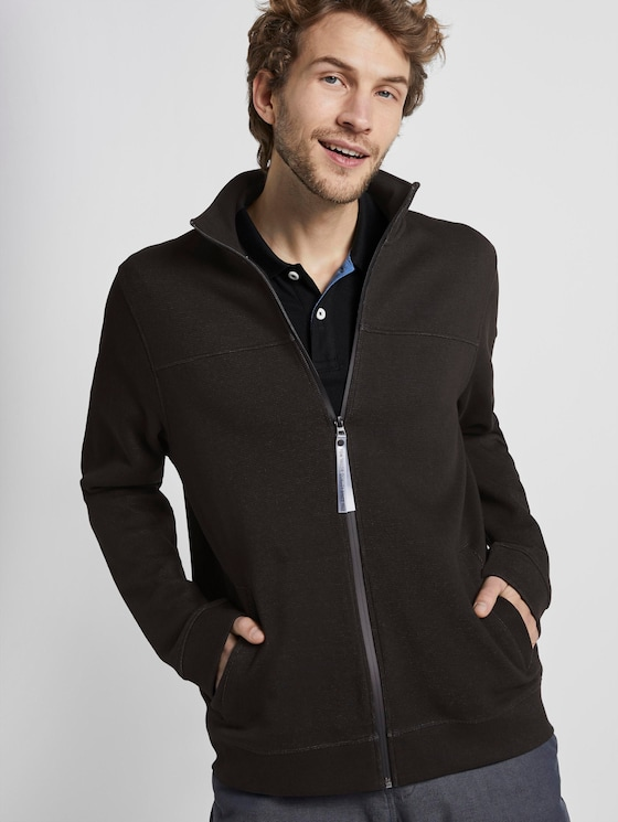 Jacket with stand-up collar - Men - Dark Greyish Black - 5 - TOM TAILOR