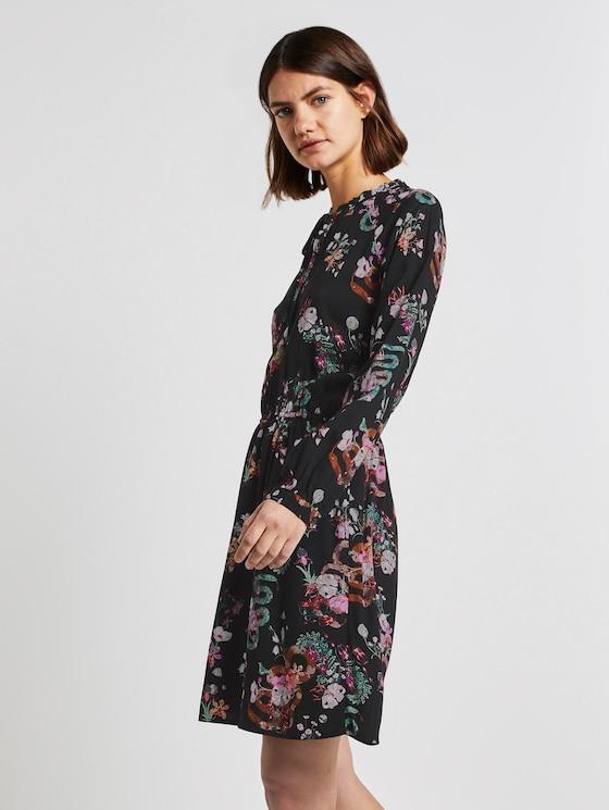 Jurk met bloemenpatroon - Vrouwen - black flower print - 5 - TOM TAILOR Denim