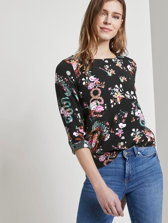 Shirt with chest pocket - Women - black flower print - 5 - TOM TAILOR Denim