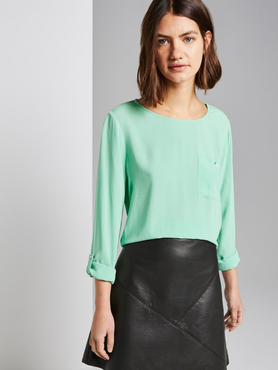 Shirt with chest pocket - Women - soft basil green - 5 - TOM TAILOR Denim