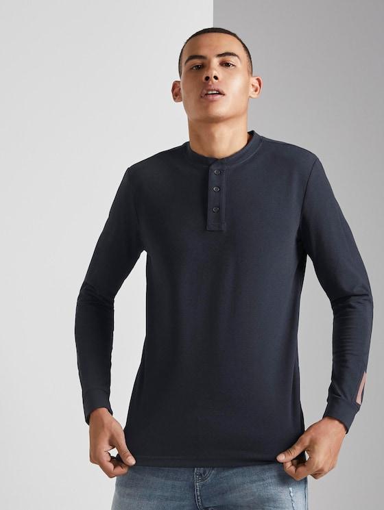 Henley lange mouwen shirt met print - Mannen - Sky Captain Blue Non-Solid - 5 - TOM TAILOR Denim