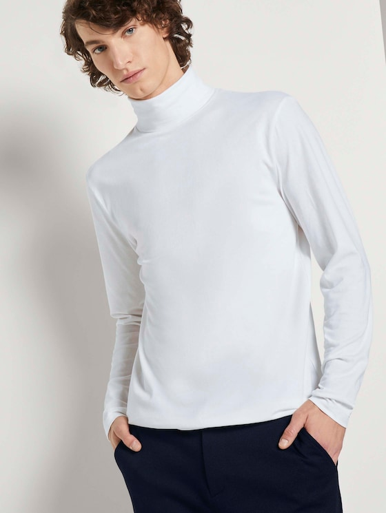 Langarmshirt mit Turtleneck - Männer - White - 5 - TOM TAILOR Denim