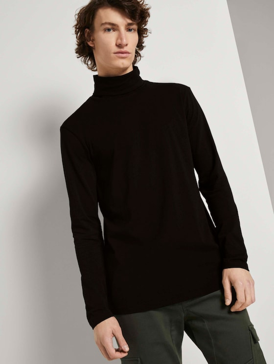 Langarmshirt mit Turtleneck - Männer - Black - 5 - TOM TAILOR Denim