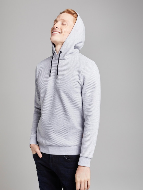 Strukturierter Hoodie - Männer - Light Stone Grey Melange - 5 - TOM TAILOR Denim