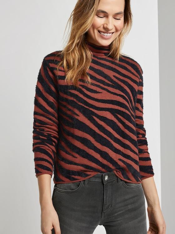 Toni Garrn: Sweatshirt in jacquard look - Women - black brown big zebra design - 5 - TOM TAILOR