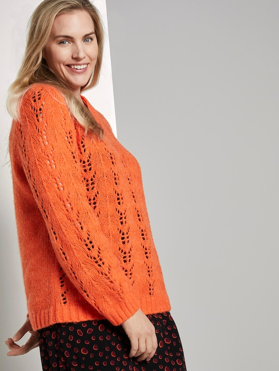 Strickpullover mit Zopfmuster - Frauen - knockout orange - 5 - My True Me