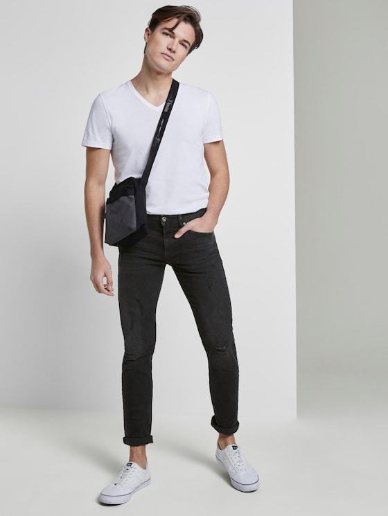 Piers Super Slim Jeans - Men - used dark stone black denim - 3 - TOM TAILOR Denim