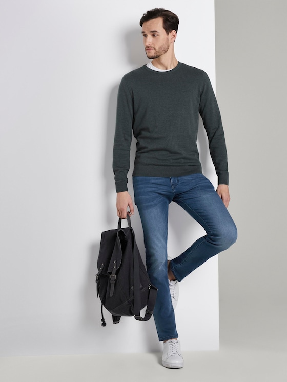 Troy Slim Jeans in Sweat-Optik - Männer - mid stone wash denim - 3 - TOM TAILOR