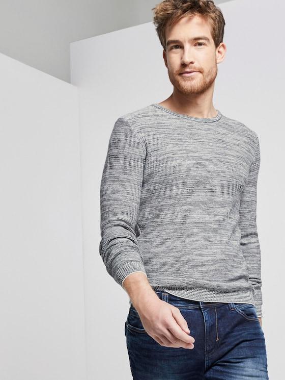 Fein gestreifter Pullover - Männer - grey shades mouline - 5 - TOM TAILOR