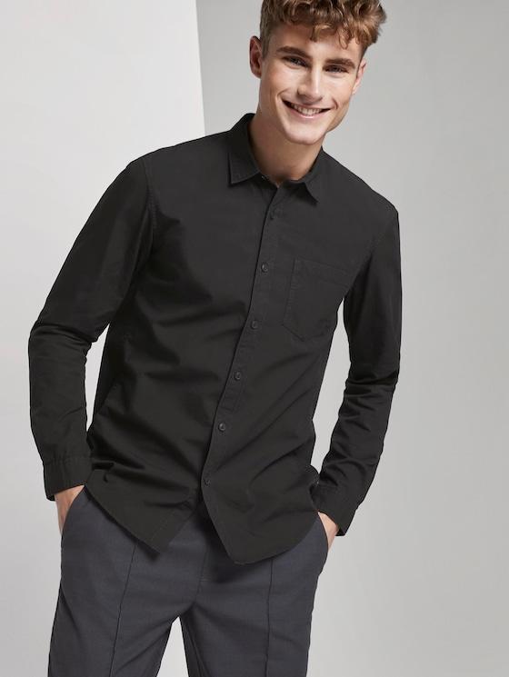 Hemd mit Brusttasche - Männer - Black - 5 - TOM TAILOR Denim