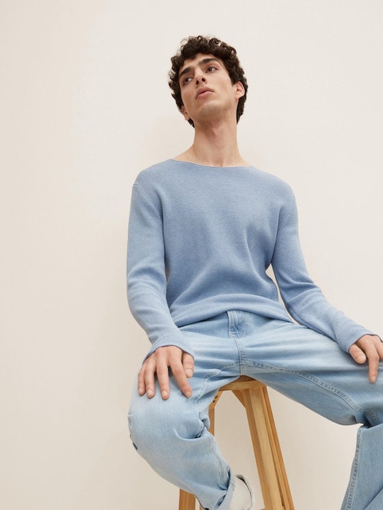 Strukturierter Pullover - Männer - soft light blue melange - 5 - TOM TAILOR Denim