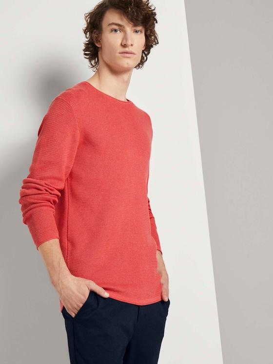 Strukturierter Pullover - Männer - blush berry melange - 5 - TOM TAILOR Denim