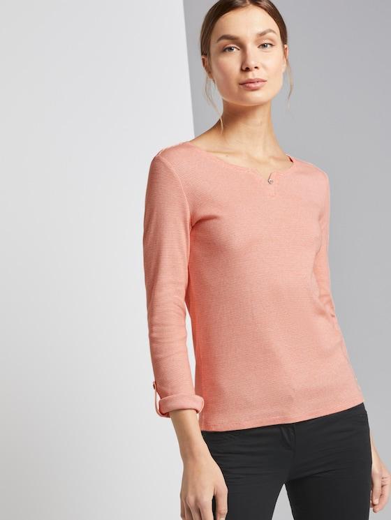 gestreiftes Henley-Shirt - Frauen - orange offwhite small stripe - 5 - TOM TAILOR