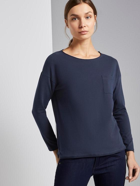 Langarmshirt mit Brusttasche - Frauen - Sky Captain Blue - 5 - TOM TAILOR