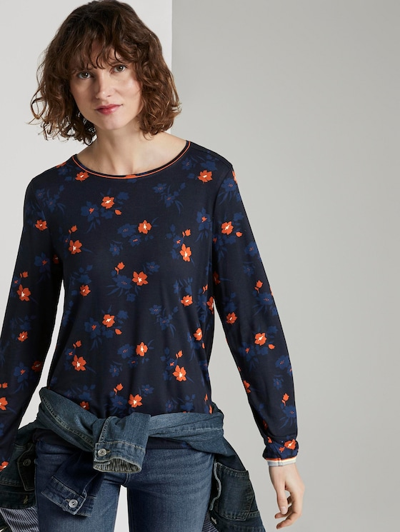 Langarmshirt mit Blumenprint - Frauen - navy orange flower design - 5 - TOM TAILOR