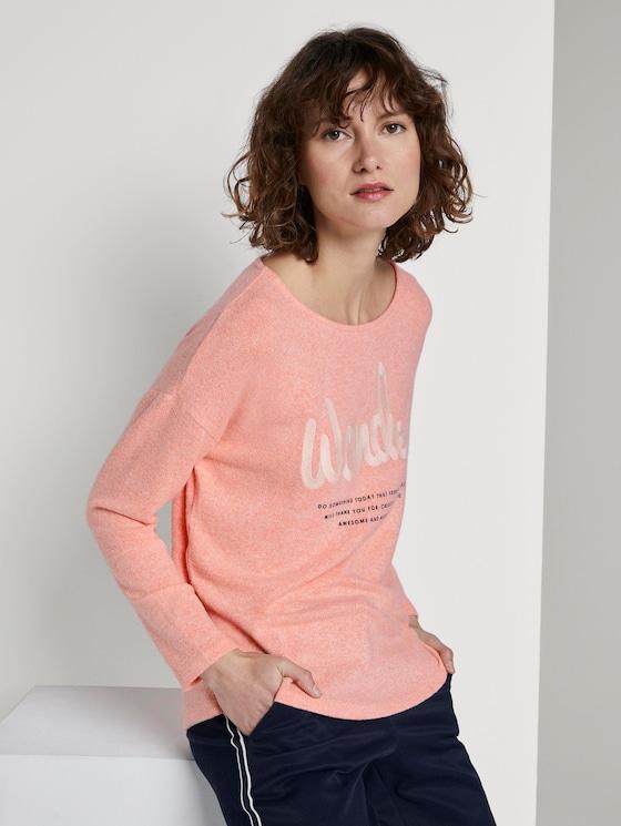 Langarmshirt mit Print - Frauen - fruity melon melange - 5 - TOM TAILOR