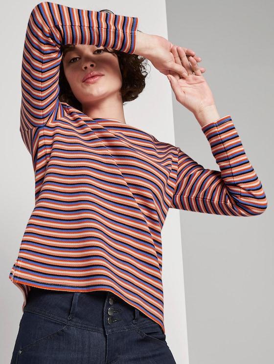 Gestreiftes Langarmshirt - Frauen - blue multicolor stripe small - 5 - TOM TAILOR