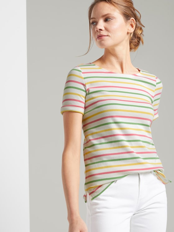 Colourful T-shirt with stripes - Women - offwhite multicolor stripe - 5 - TOM TAILOR