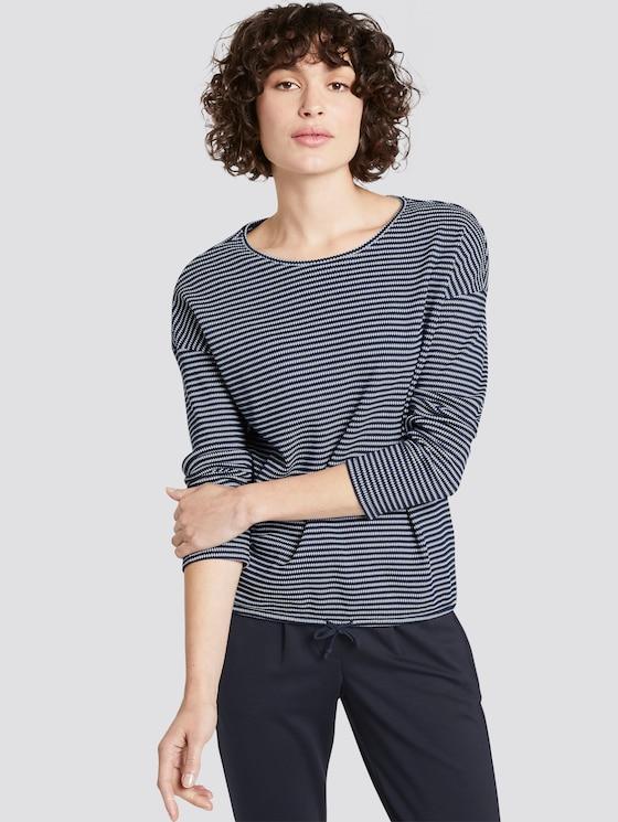 gestreiftes langarmshirt - Frauen - navy stripe structure - 5 - TOM TAILOR