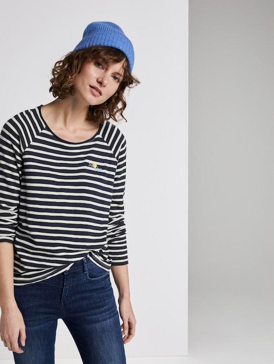 Striped jersey long-sleeved shirt - Women - navy stripe - 5 - TOM TAILOR