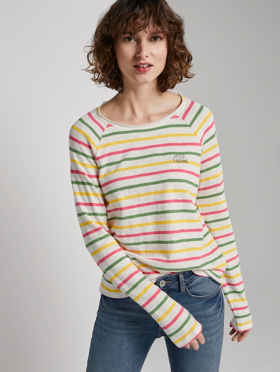 Gestreiftes Jersey Langarmshirt - Frauen - offwhite multicolor stripe - 5 - TOM TAILOR