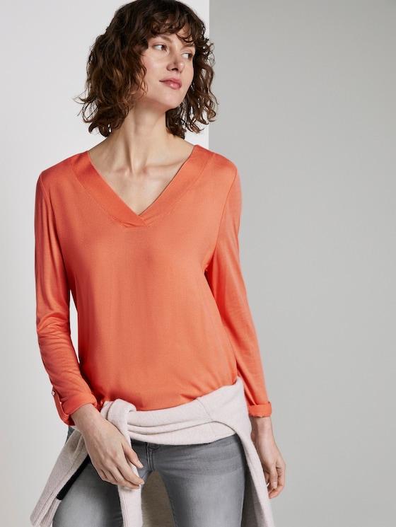 Blouse shirt met V-hals - Vrouwen - Fusion Coral - 5 - TOM TAILOR