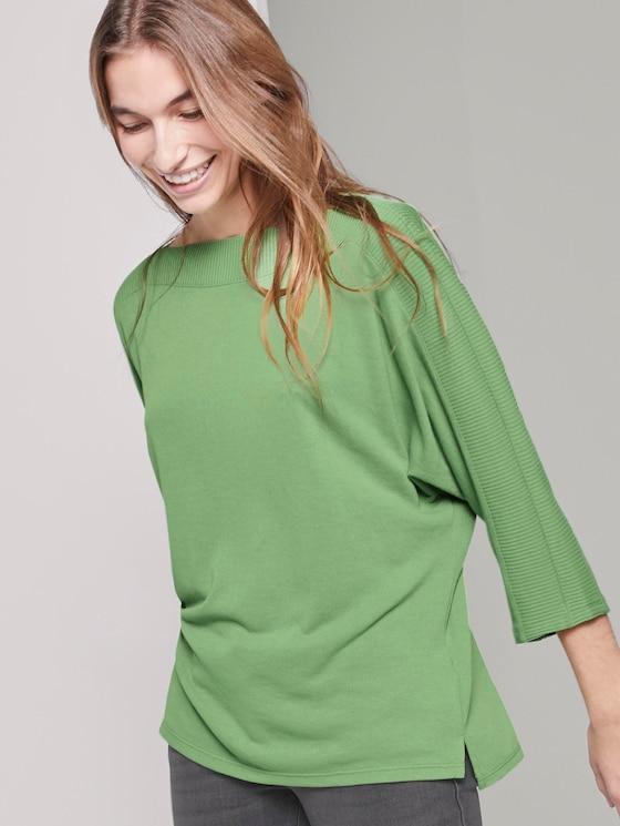 T-Shirt mit U-Boot-Ausschnitt - Frauen - sundried turf green - 5 - TOM TAILOR