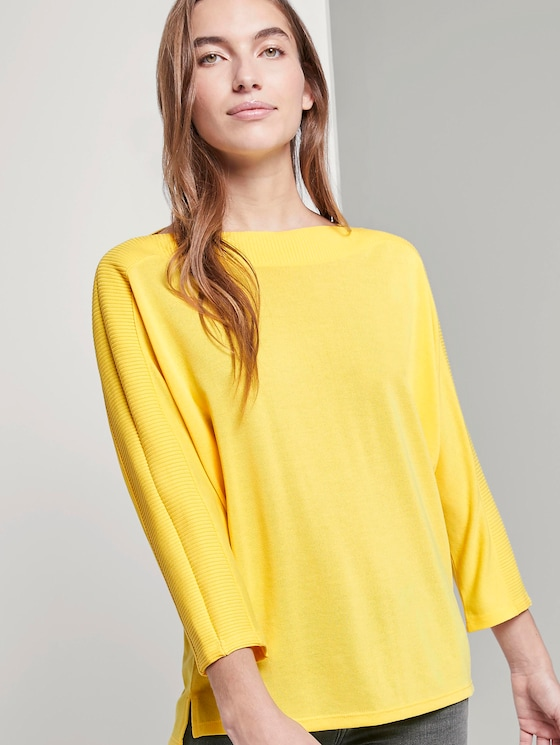 T-Shirt mit U-Boot-Ausschnitt - Frauen - jasmine yellow - 5 - TOM TAILOR