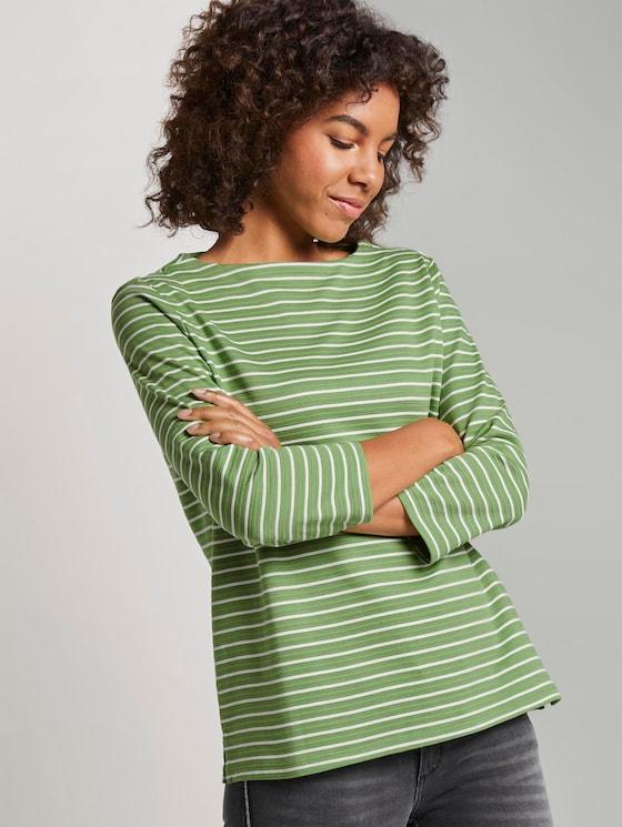 Gestreiftes Ottoman Sweatshirt - Frauen - green horizontal stripe - 5 - TOM TAILOR