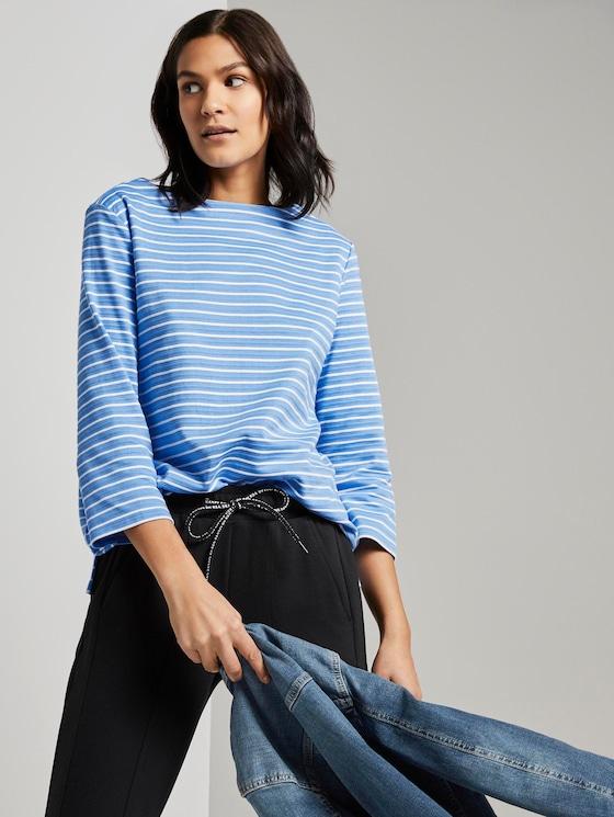 Striped Ottoman sweatshirt - Women - bleu offwhite stripe - 5 - TOM TAILOR