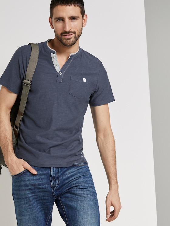 Gestreiftes Henley-T-Shirt - Männer - cyber grey yarndye stripe - 5 - TOM TAILOR