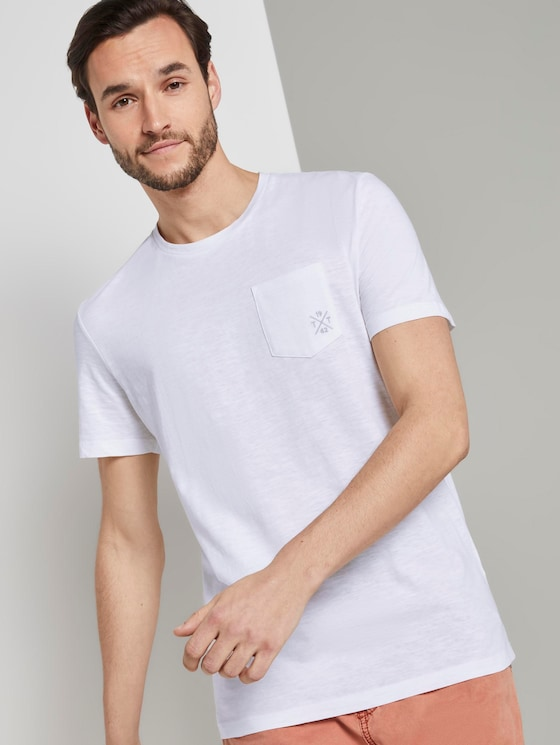 Mottled T-shirt with organic cotton - Men - White - 5 - TOM TAILOR