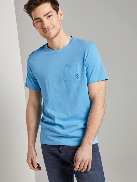 Meliertes T-Shirt mit Bio-Baumwolle - Männer - soft cloud blue - 5 - TOM TAILOR