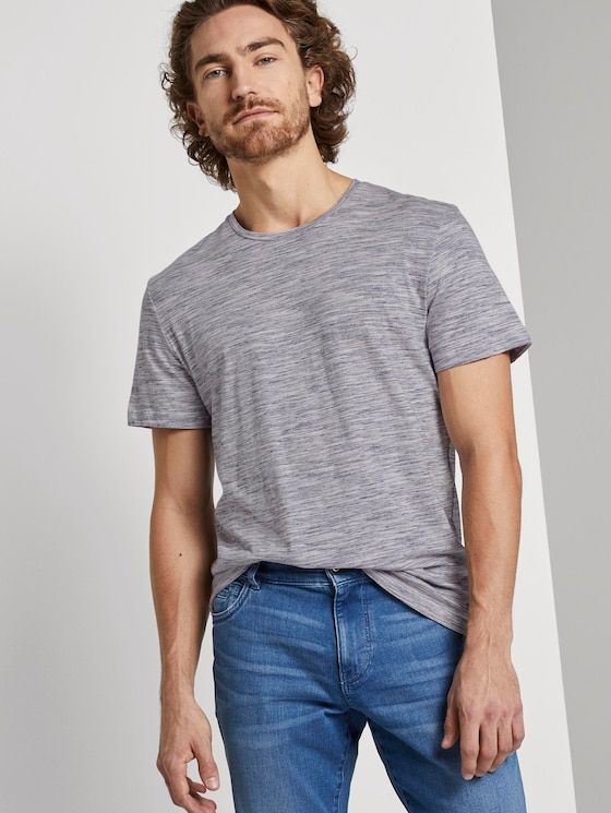 Basic T-Shirt - Mannen - navy offwhite streaky inject - 5 - TOM TAILOR