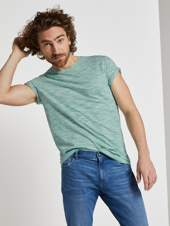 Basic Two-Tone T-Shirt - Männer - green offwhite streaky inject - 5 - TOM TAILOR