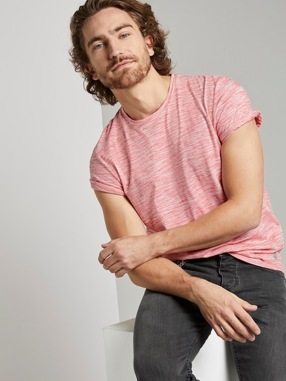 Basic Two-Tone T-Shirt - Männer - red offwhite streaky inject - 5 - TOM TAILOR