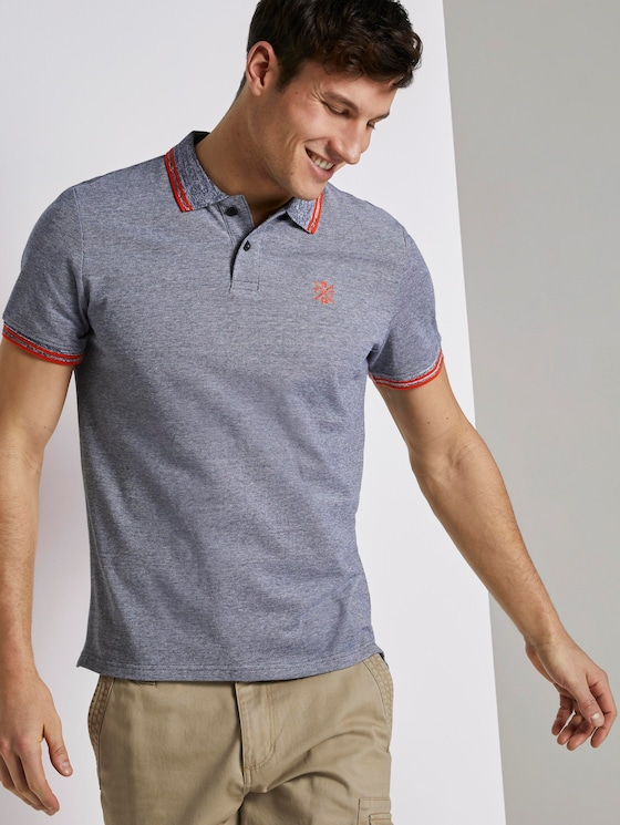 Poloshirt in Two-Tone Optik - Männer - navy two tone pique - 5 - TOM TAILOR