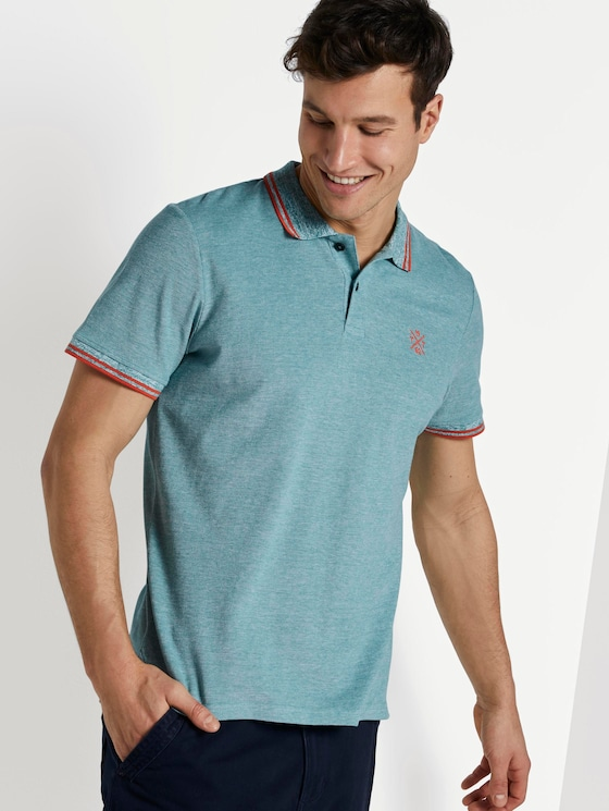 Poloshirt in Two-Tone Optik - Männer - green two tone pique - 5 - TOM TAILOR