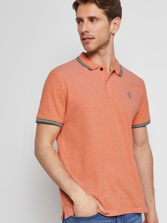 Poloshirt in Two-Tone Optik - Männer - orange two tone pique - 5 - TOM TAILOR