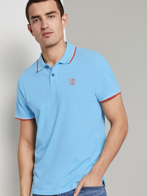 Poloshirt in Two-Tone Optik - Männer - teal two tone pique - 5 - TOM TAILOR