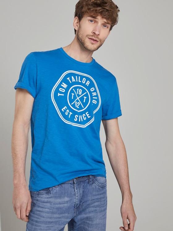 T-Shirt mit Print - Männer - Electric Teal Blue - 5 - TOM TAILOR