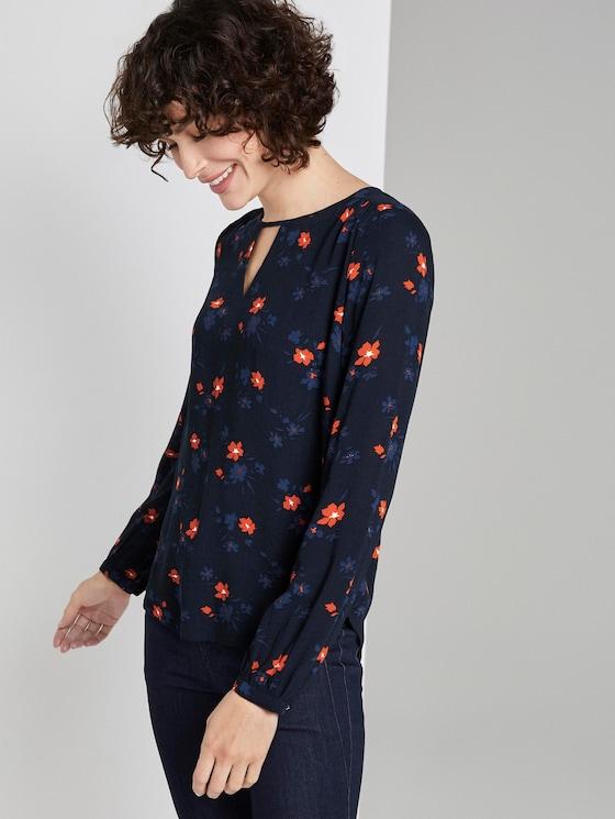 Blusenshirt mit Print - Frauen - navy orange flower design - 5 - TOM TAILOR