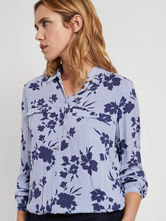 Blouse met bloemenprint - Vrouwen - blue navy floral design - 5 - TOM TAILOR