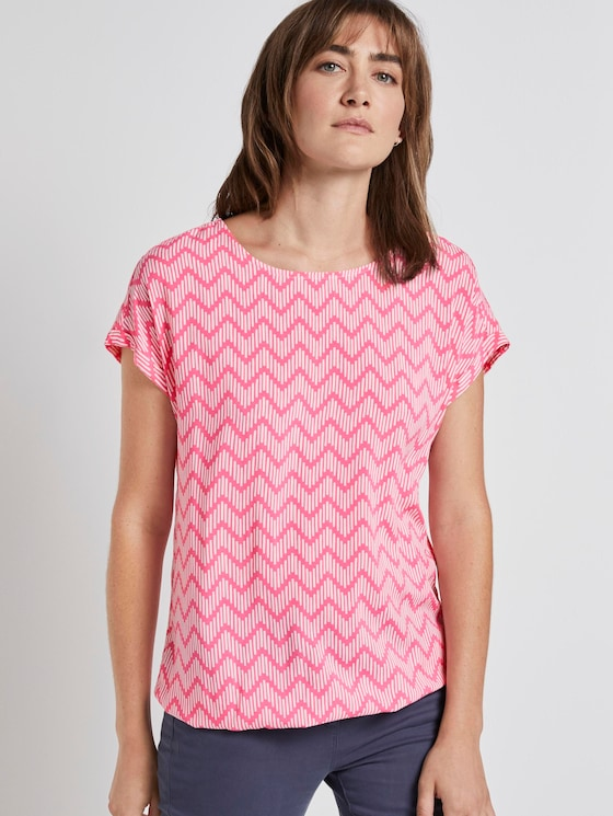Blouse with an all-over print - Women - pink zick zack design - 5 - TOM TAILOR