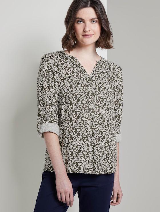 Bluse mit Blumenmuster - Frauen - khaki offwhite floral design - 5 - TOM TAILOR