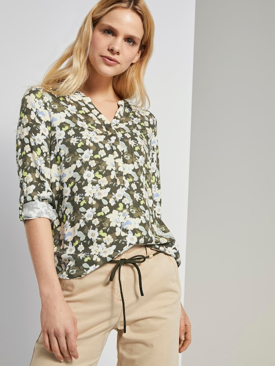 Blouse met bloemenprint - Vrouwen - small khaki floral design - 5 - TOM TAILOR