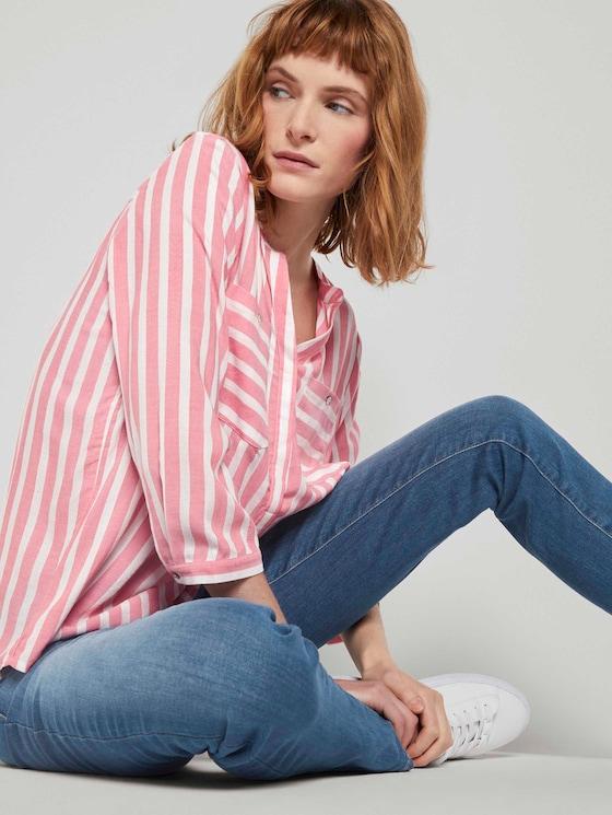 Gestreifte Bluse mit Taschen - Frauen - peach offwhite vertical stripe - 5 - TOM TAILOR
